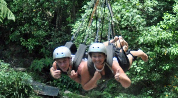 Swing through the rainforest on the AJ Hackett Giant Jungle Swing North Queensland Australia